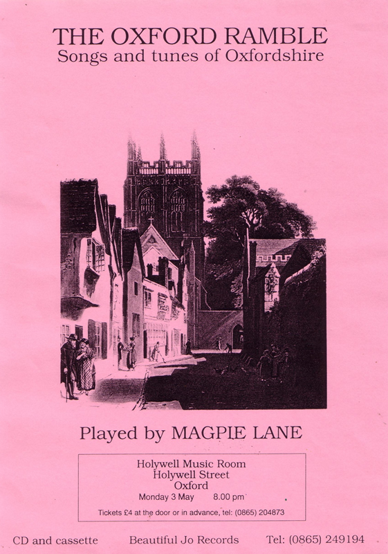 Flyer for first Magpie Lane concert, May 1993