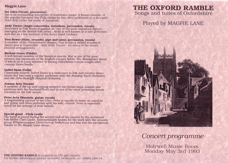 Magpie Lane - first concert programme, 3rd May 1993 (front) - click to view larger image