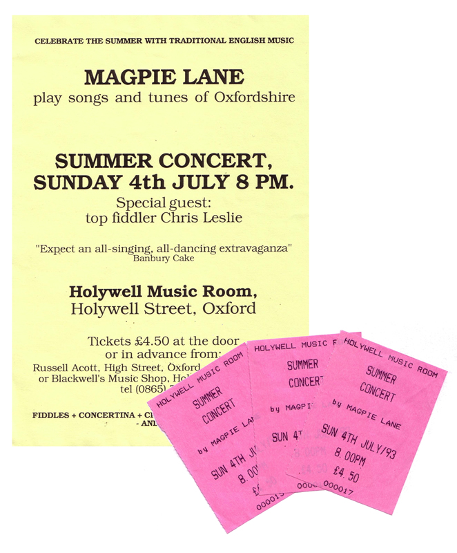 Flyer and tickets for summer concert 1993 - click to view larger image